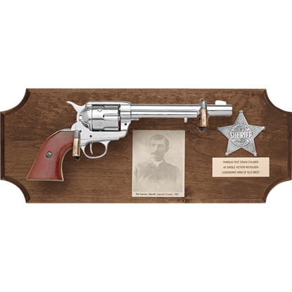 Pat Garrett Framed Pistol Dark Wood Display Plaque