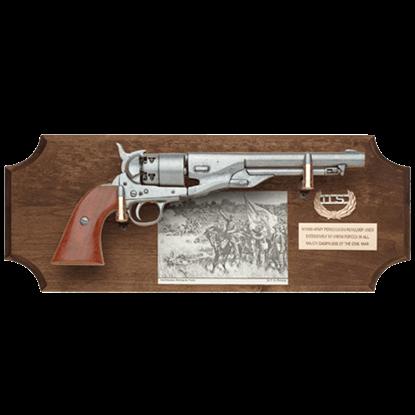 Civil War Union Pistol Dark Wood Display Plaque