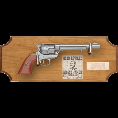 Jesse James Framed Pistol Wood Display Plaque