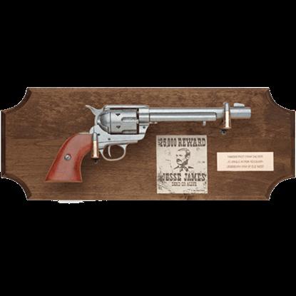 Jesse James Framed Pistol Dark Wood Display Plaque