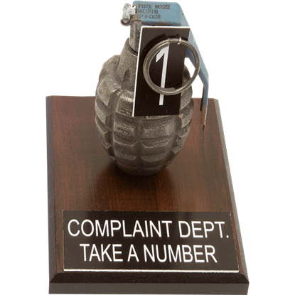 Complaint Dept. Hand Grenade Display