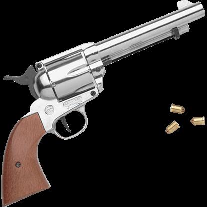 Blank Firing Nickel Western Revolver
