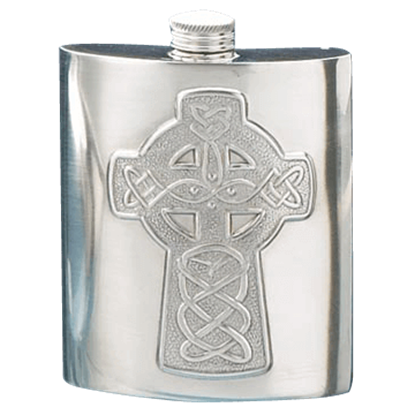 Celtic Cross Pewter Flask