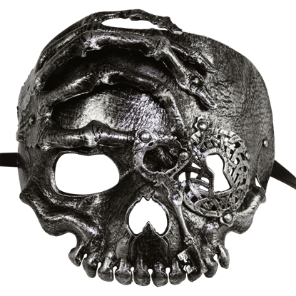 Silver Lock and Key Skull Mask