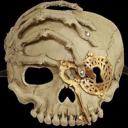 Gold Lock and Key Skull Mask