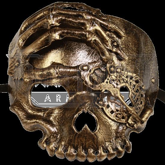 Bronze Lock and Key Skull Mask