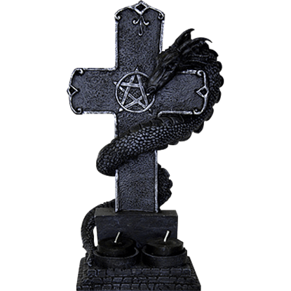 Black Dragon Cross Candle Holder