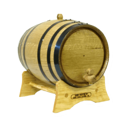 10 Liter Oak Barrel with Black Steel Hoops