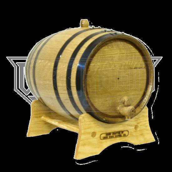 10 Liter Oak Barrel with Black Steel Hoops