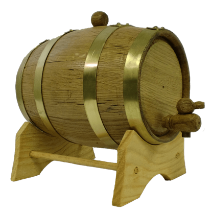 1 Liter Oak Barrel with Brass Hoops