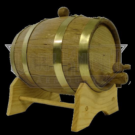 1 Liter Oak Barrel with Brass Hoops
