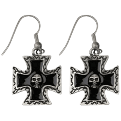 Black Cross Skull Earrings