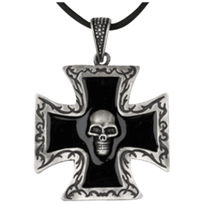 Black Cross Skull Necklace
