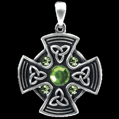 Green Gem Celtic Shield Necklace