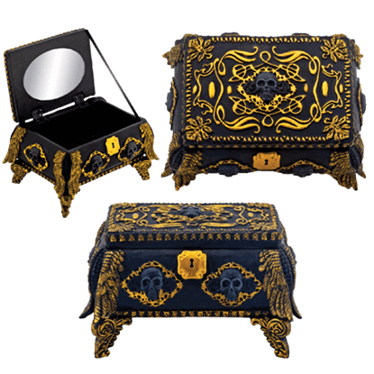 Gold and Black Ornate Skull Jewelry Box