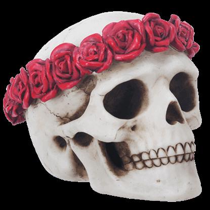 Flower Crown Skull Statue