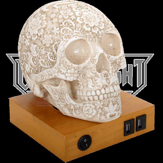 Floral Skull Lamp