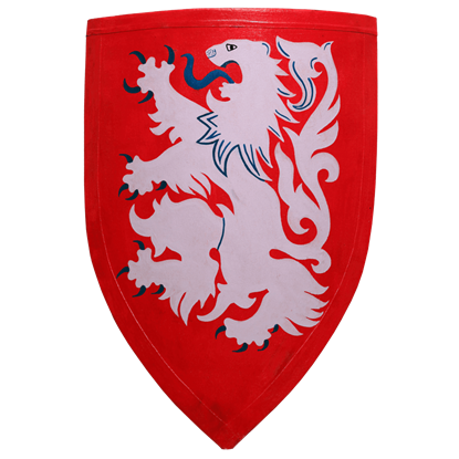 Red and White Leonine Heater Shield
