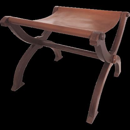 Wood and Leather Folding Stool