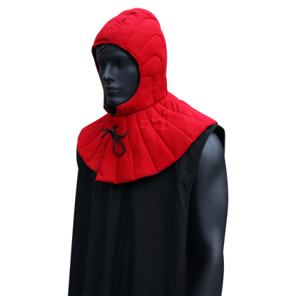 Black Padded Arming Hood with Collar
