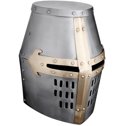Brass Trim Crusader Great Helm