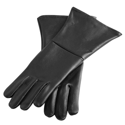 Black Leather Historical Gloves