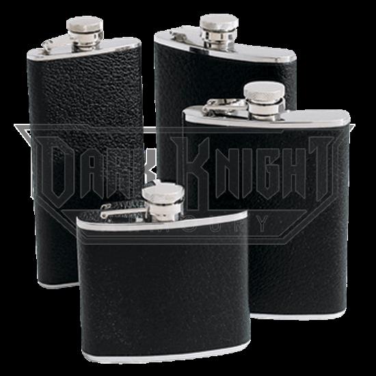 5 oz. Black Bison Leather Flask