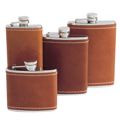 4 oz. Tan Bison Leather Flask