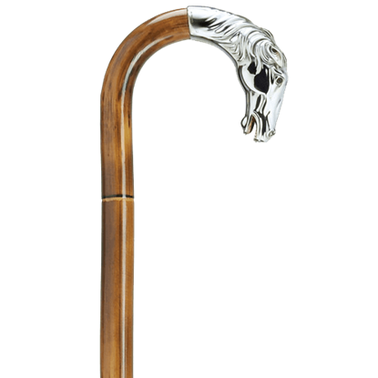 Alpacca Silver Horse Head Walking Cane