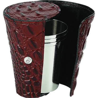 Cocktail Cup Set with Brown Case