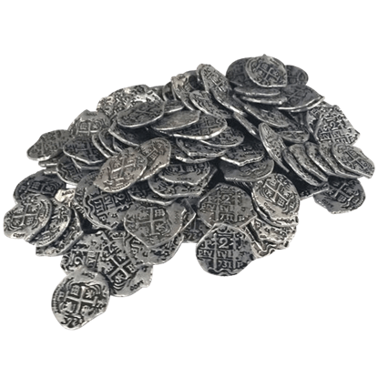 150 Small Silver Pirate Coins