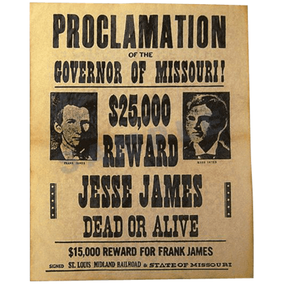 James Brothers Wanted Poster