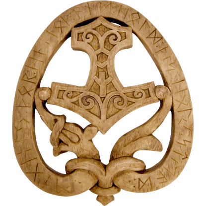 Wooden Norse Hammer Plaque