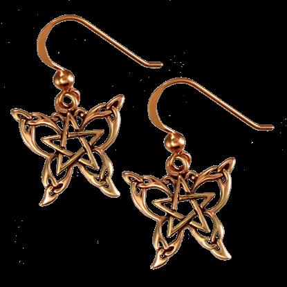 Copper Butterfly Pentagram Earrings