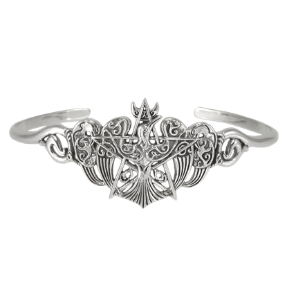 Silver Raven Pentagram Bracelet