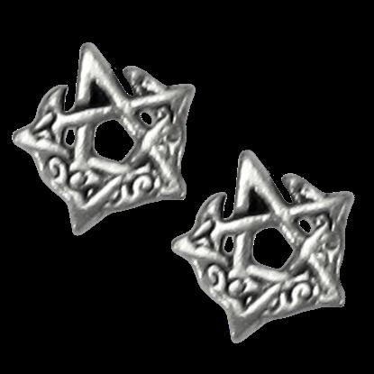 Silver Horned Moon Pentagram Stud Earrings