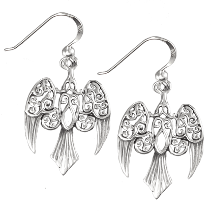 Silver Morrigan Raven Earrings