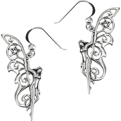 Sterling Silver Pentacle Fairy Earrings