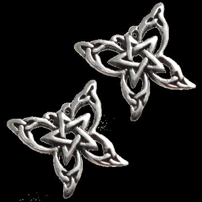 Silver Butterfly Pentagram Stud Earrings