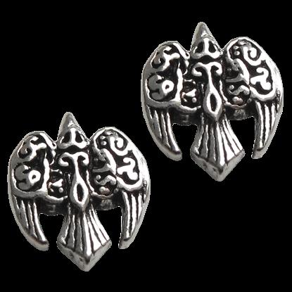 Silver Morrigan Raven Stud Earrings