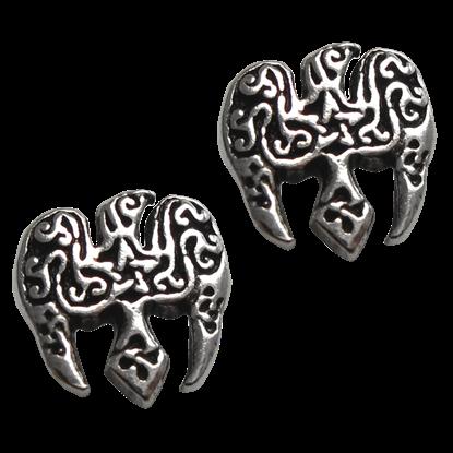 Silver Raven Pentacle Stud Earrings