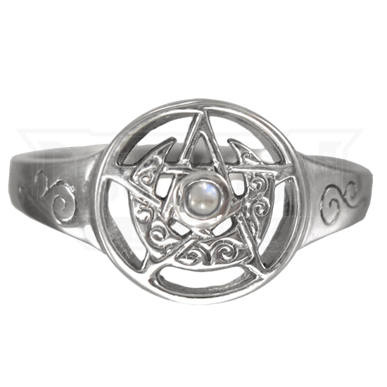 Silver Crescent Moon Pentacle Ring with Rainbow Moonstone Accent