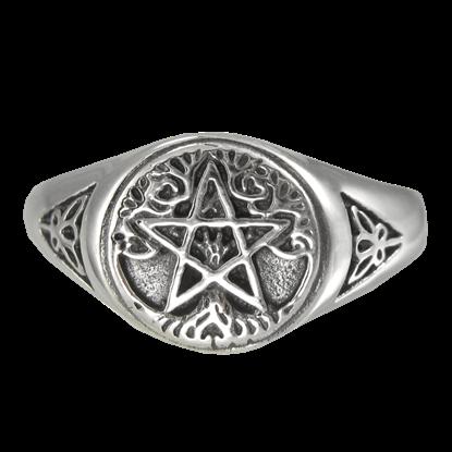 Silver Tree Pentagram Ring
