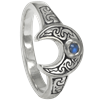 Crescent Moon Ring with Rainbow Moonstone