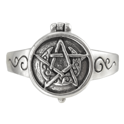 Silver Horned Moon Pentacle Poison Ring