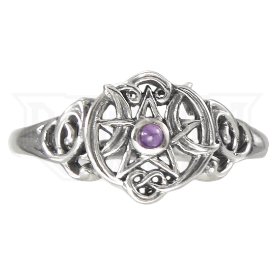 Silver Heart Pentacle Ring with Amethyst Accent