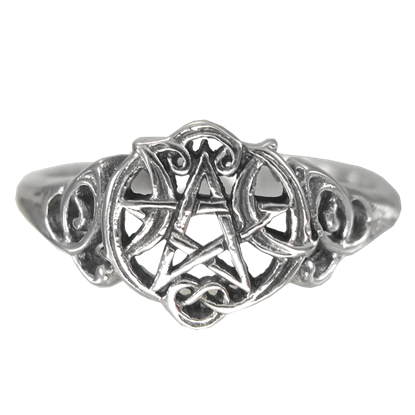 Silver Heart Pentacle Cut Out Ring
