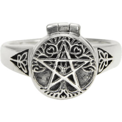 Sterling Silver Tree Pentacle Poison Ring