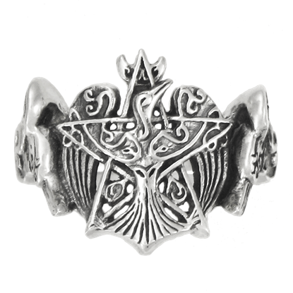 Silver Crescent Raven Pentagram Ring
