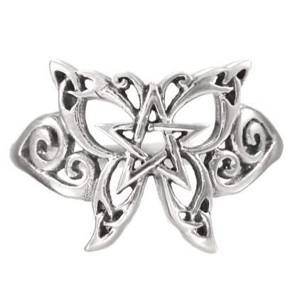 Silver Butterfly Pentagram Ring